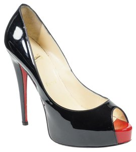 Christian Louboutin Vendome 39 Peep Toe Platform Patent Leather Black Pumps