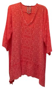 Johnny Was 3/4 Sleeves V-neck Eyelet Rayon Tunic