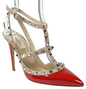 Valentino Rockstud 39.5 Patent Leather Pointed Toe Ankle Strap Red Pumps