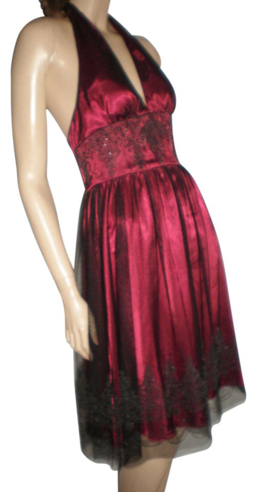 Adrianna Papell Deep Wine Halter Mid-length Formal Dress Size Petite ...