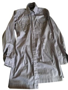 New York & Company Button Down Shirt Purple and Silver