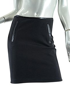 Vince Leather Trim Stretch Skirt Black