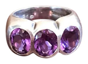 Vintage Polly Bergen Vintage Polly Bergen Amethyst 3 Stone Sterling Ring
