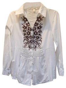 Coldwater Creek Button Down Shirt white with brown