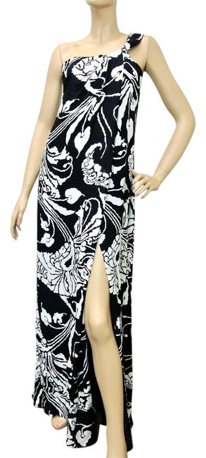 Item - Black/White W Runway Floral Gown W/O Brooch 38 284031 Long Night Out Dress Size 2 (XS)