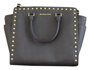 Michael Kors Selma Leather Tote in chocolate brown w/ gold studs