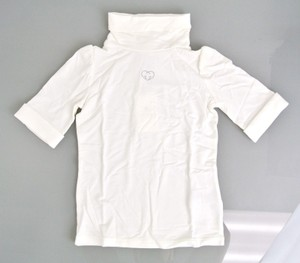 Gucci White W Modal/Cashmere Turtle Neck T-shirt W/Strass Heart 4 265568 Groomsman Gift