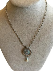 Brighton Brighton necklace with mint pendant and pearl drop