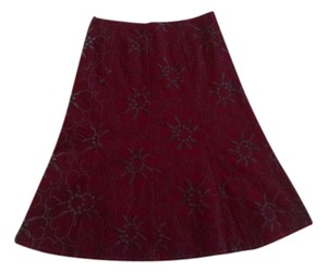 Ruth Brand Skirt Wine-red with Slate Embroidery