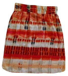 Banana Republic Silk Mini Skirt Orange, red, blue, cream Ikat