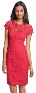 Monique Lhuillier Lace Short Sleeve Dress