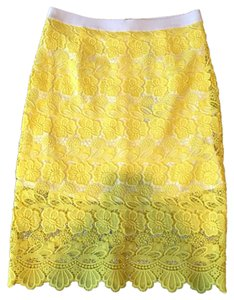 Rebecca Minkoff Lace Pencil Skirt Yellow