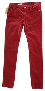 AG Adriano Goldschmied Cord Straight Pants Red