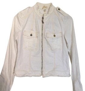 Joie White with gold stitching Womens Jean Jacket