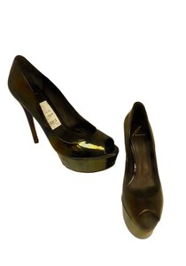 Brian Atwood Patent Leather Peep Toe Black Pumps