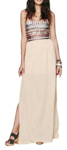 Beige Maxi Dress by Free People Bohemian Embroidered Striped Side Slits Prom Draped Gauzy Fp X Love Sam