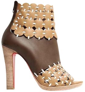 Christian Louboutin Amazona Caged Cutout Beige/Brown Boots