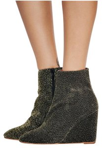 Jeffrey Campbell Black Gold Lame Boots