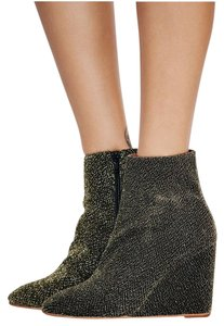 Free People Night Out Wedge Black Gold Lame Boots