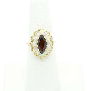 NYCFineJewelry Garnet and Opal Ring 14K Yellow Gold 3.2 CT TGW