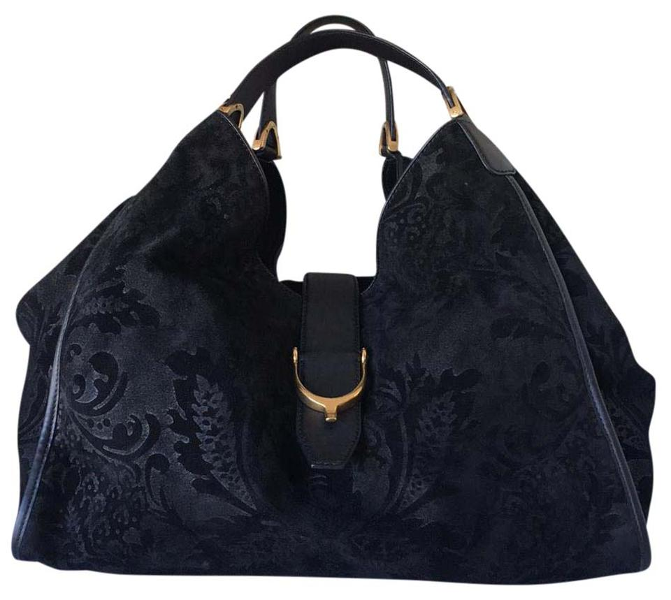 b1db94900c1 Gucci Stirrup Soft Suede Embroidered Black Shoulder Bag - Tradesy
