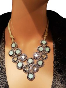 Other Women's Blue Clear Suede Rope Necklace Silver Plated