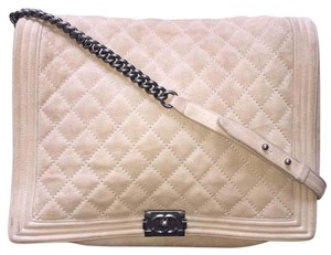 Chanel Suede Cc Boy Quilted Cross Body Bag