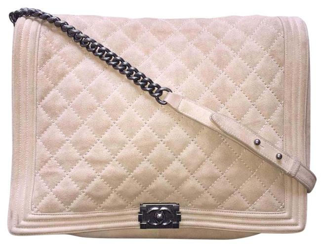 Chanel Boy XL Soft Gentle Flap Quilted Extra Large Ruthenium A67953 Tan Suede Leather Cross Body Bag Chanel Boy XL Soft Gentle Flap Quilted Extra Large Ruthenium A67953 Tan Suede Leather Cross Body Bag Image 1