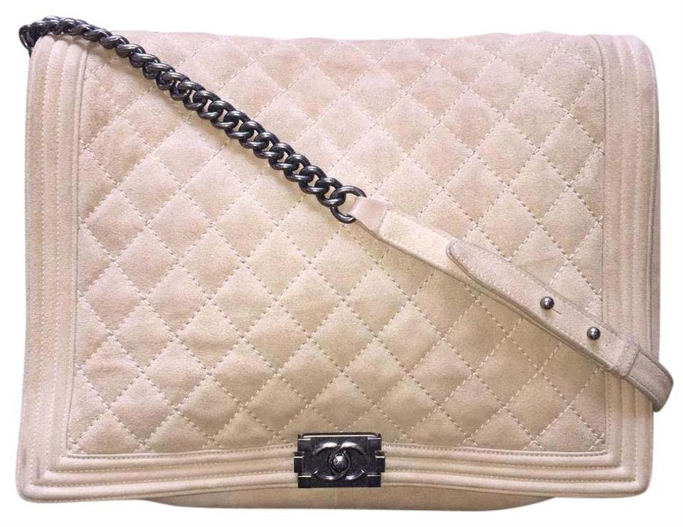 dd58c09500b8 Chanel Boy XL Soft Gentle Flap Quilted Extra Large Ruthenium A67953 Tan  Suede Leather Cross Body Bag