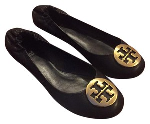 Tory Burch Black with Golden Medallion Flats