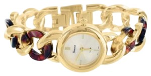 Geneva Tortoise Link Ladies Watch Cuban Bracelet Gold Tone Stainless Steel