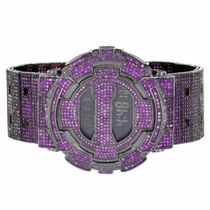 G-Shock Mens Purple G-shock Watch Fully Iced Out Gd100-1b Simulated Diamonds