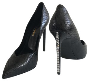 Saint Laurent Pointed Toe Crystal Snake Embossed Leather Black Pumps