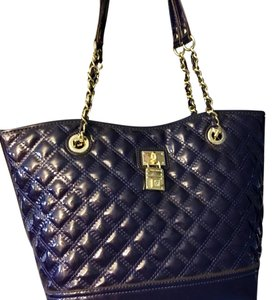 Anne Klein Tote in Navy with gold hardware