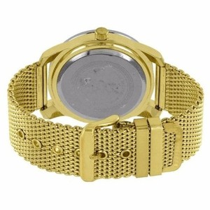 Other Mens Mesh Band Watch Yellow Gold Tone Simulated Diamond Techno Pave