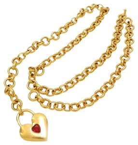 Chanel CHANEL Gold Plated CC Heart Charm Vintage Chain Belt