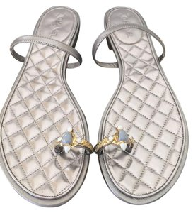 Chanel 15p Gold Flat Silver Sandals