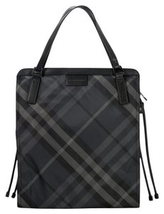 Burberry Carry All Checkered Tote in Charcoal