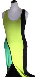 Yellow, Black, and Green Maxi Dress by bebe Maxi Stretch Zipper Open Back