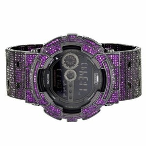 G-Shock G Shock Watch Gd100-1b Purple Iced Out Simulated Diamonds Digital