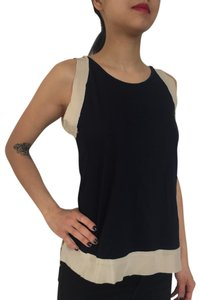 Max & Co. Casual Silk Sleek Chic Cotton Top Navy and Creme