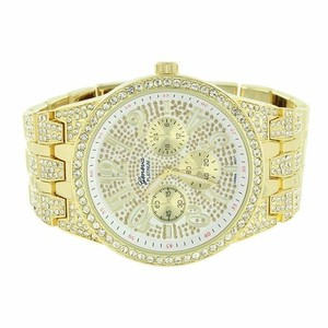 Geneva Platinum Mens Gold Tone Watch Custom Zircon Stones Bling Band Big Face