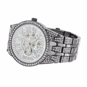 Geneva Platinum Black Watch Iced Out Custom Dial Band Big Look Hip Hop Metal Bling Cz
