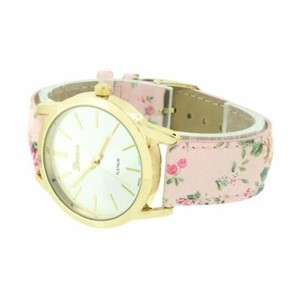Geneva Gold Tone Ladies Watch Pink Floral Design Band Women Girls Fashion