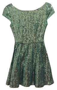 B. Darlin Tiffany Blue Low Back Cap-sleeved Cocktail Sequin Dress