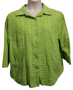 Erika Button Down Shirt Green and White