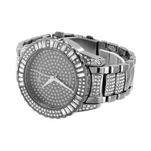 Geneva Iced Out Mens Watch Hip Hop Rapper Simulated Diamonds Space Gray