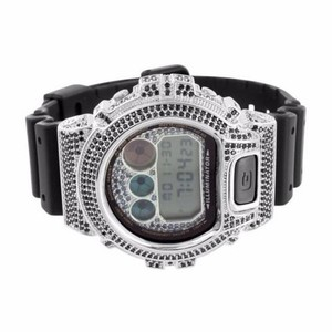 G-Shock Mens Custom G Shock Dw6900 Vintage Look Digital Mm Simulated Diamonds