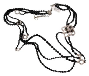 Chanel Black Pearls Silver Crystal Camellia 3 Strand Long Necklace