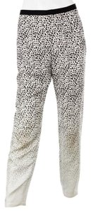 Band of Outsiders Silk Leopard Animal Print Relaxed Pants White/black